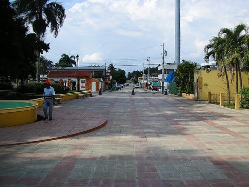 Parte peatonal de la calle Juan Pablo Duarte